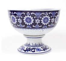 Blue and White Chinoiserie Footed Bowl