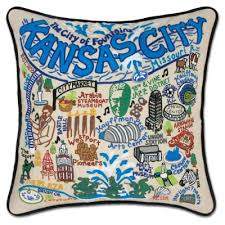 Kansas City Hand-Embroidered Pillow