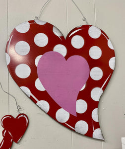 Red and White Dot Heart Door Hanger