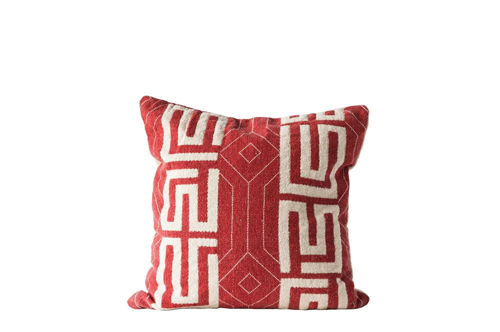 Kuba Cloth Style Pillow with Embroidery