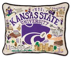 Kansas State Embroidered Pillow