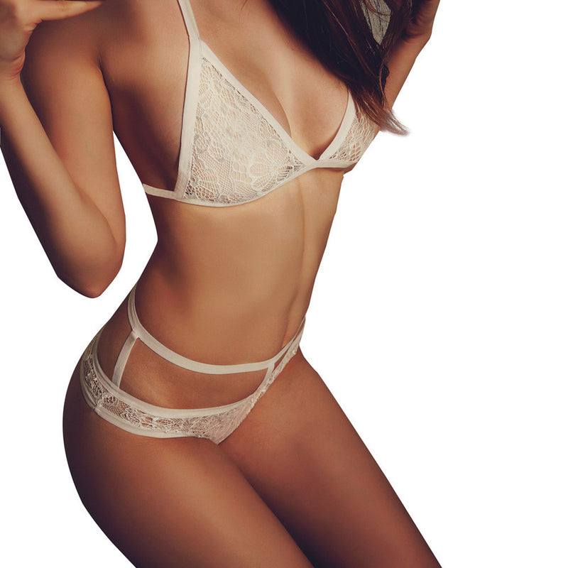 Floral Lace Sheer Bra and Thong Set