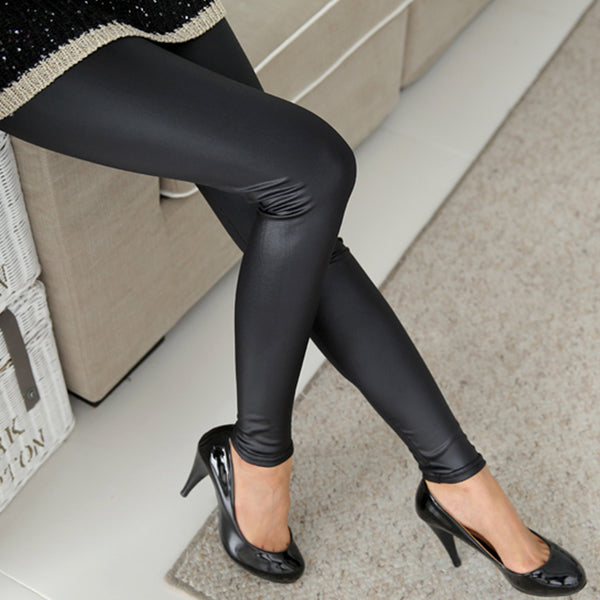 Faux Leather Tights