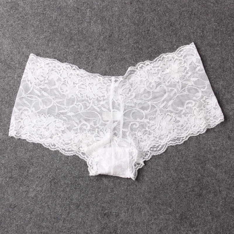 Sexy See Through Boyshorts For Women Shorts Panties Thin Lace Transparent Woman Boy Shorts shorty femme Lingerie 6 pcs/lot