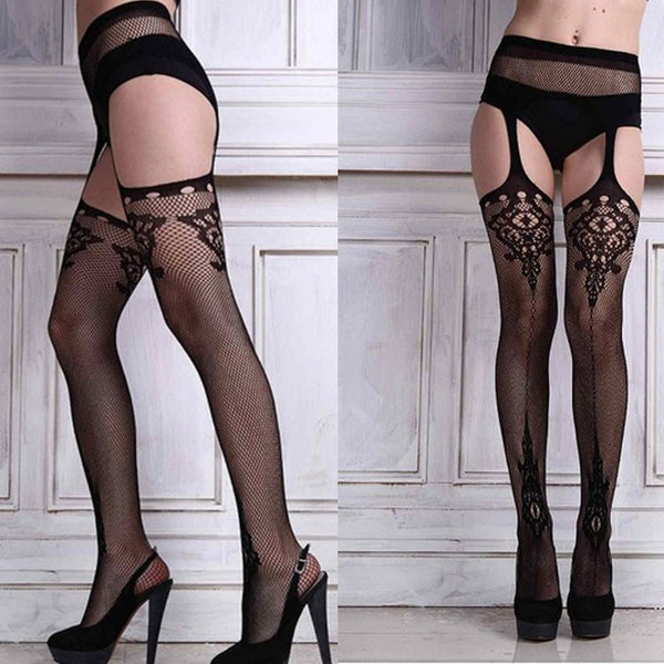 Sexy Designed Sheer Stockings and Garter Belt