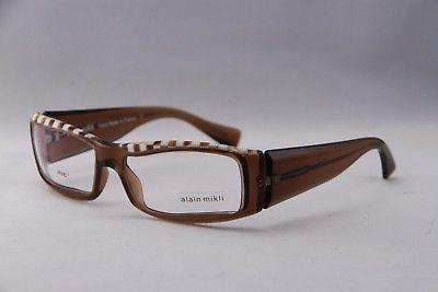 d5e0d2360bd ALAIN MIKLI Eyeglasses AL0753 Brown and White Plastic Optical Frames ...