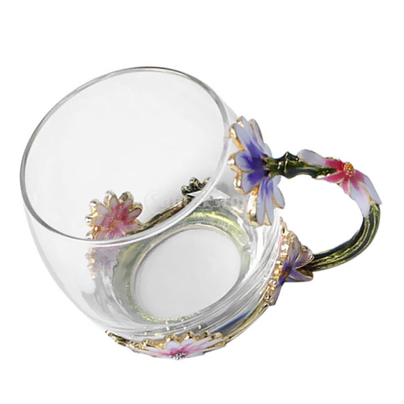 Floral Enamels Heat Resistance Clear Glass Tea Cup Coffee Milk Flower Tea Mugs Transparent Drinkware
