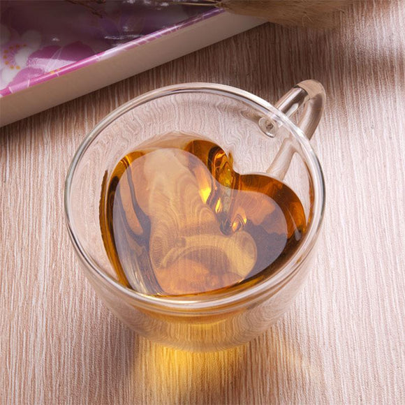 240ml Heart Double Wall Layer Clear Transparent Glass Tea Cup Coffee Mug Gift