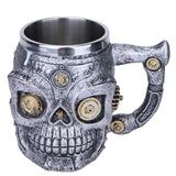 3D Skull Mugs Double Wall Stainless Steel Coffee Tea Bottle Mug Skull Mechanical Gears Drinking Cup Milk Beer Cup Kitchen Gadget