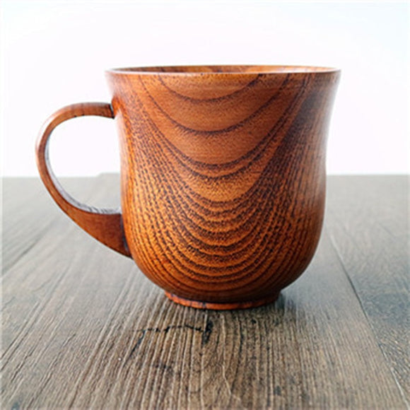 Retro Classic Natural Wood Beer Cup Wooden Milk Coffee Mugs Party Home Drinkware Novelty Gifts 13.5oz.