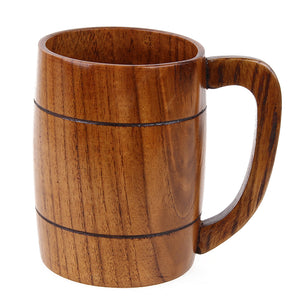 Large Capacity Wooden Beer Cup Milk Coffee Tea Cups with Handle Juice Lemon Cup Home Office Drinkware Unique Gift