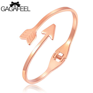 GAGAFEEL Engraved Cuff Bow And Arrow Bracelet Stainless Steel for Girls