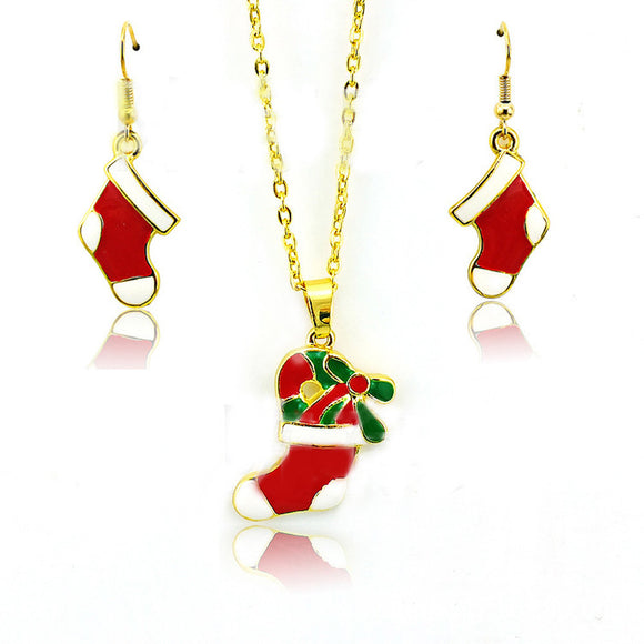 Fashion Chain Jewelry Christmas Socks Pendant Necklace Earrings Set