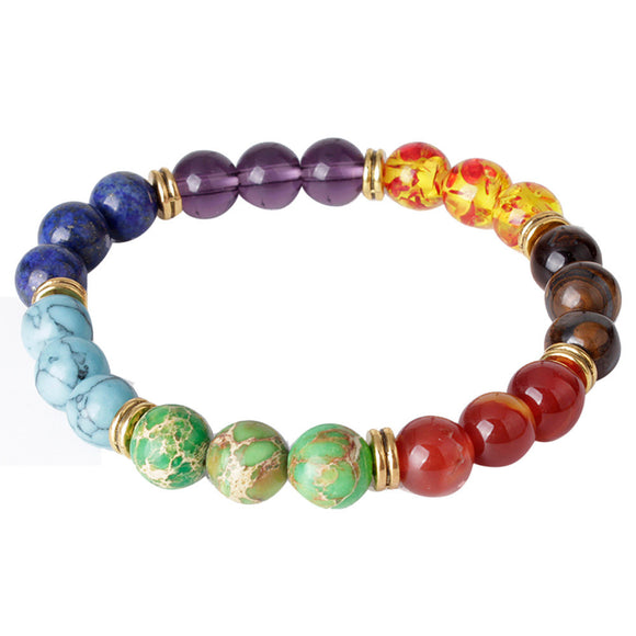 Colorful Womens 7 Stone Chakra Reiki Bead Bracelet