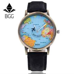 Retro Unisex Men Women Watch World Map Design Analog Quartz Watch