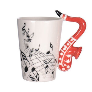 New Saxophone Ceramic Coffee Mugs Porcelain Milk Mug Tea Cups Music Notes Home Office Drinkware