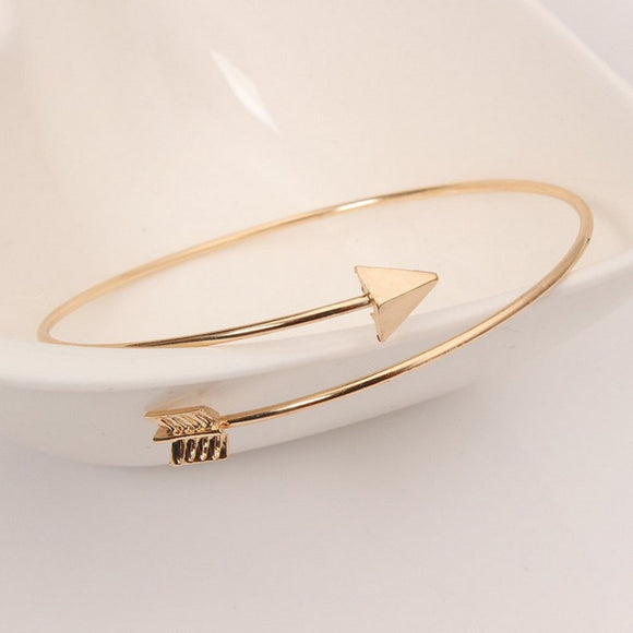 Fashion Women Metal Cuff Arrow Bangle Bracelet