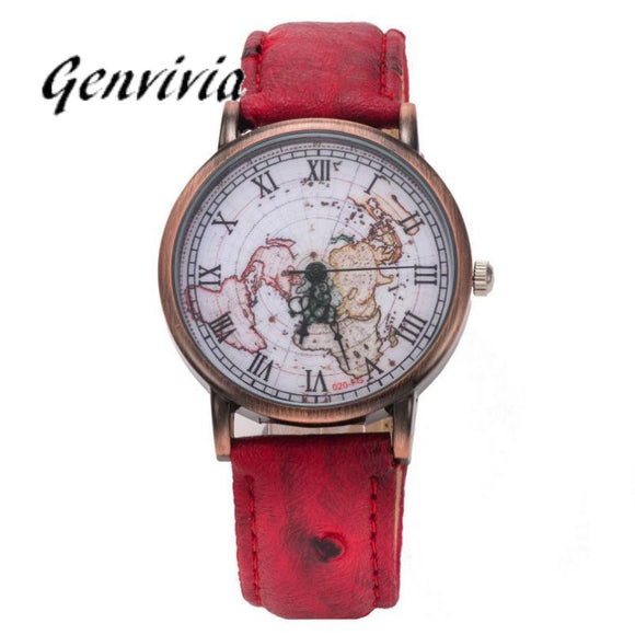 GENVIVIA unisex women watches with world map leather watch band