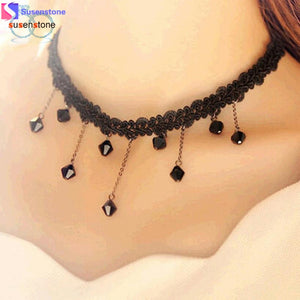 SUSENSTONE Droplets Fall Fashion Black Lace Crochet Beads Necklace Choker