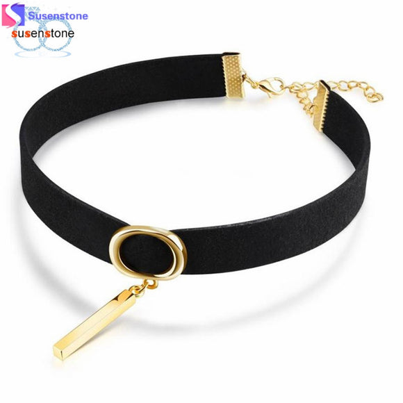SUSENSTONE Choker Necklace Stretch Classic Velvet