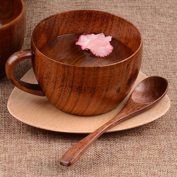 8.8 oz Natural Jujube Bar Wooden Cups Mugs With Handgrip Coffee Tea Milk Travel Wine Beer Mugs