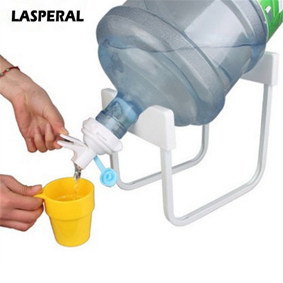 Bottled water rack with dispenser