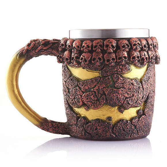 Retro 3D Skull Mug Coffee Cup Drinkware Stainless Steel (cup) Interior Europe Classical Fantasy Pirate Knight Style