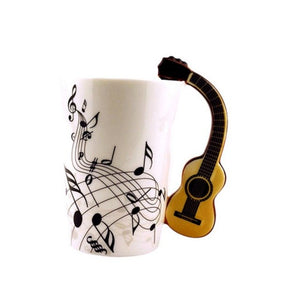 Guitar Ceramic Cup Personality Music Note Sensitive Mug Cup Coffee Tea Milk Cup Unique Home Cafe