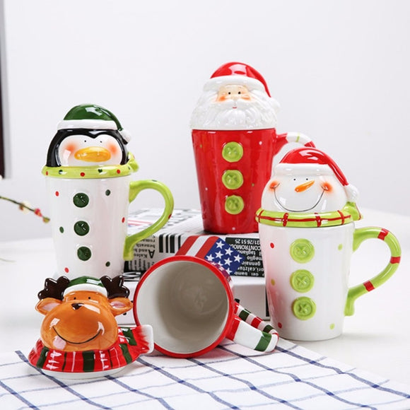 Christmas Ceramics Mug Cup Cute 3-Demensional Animal-Shape Milk Coffee Cup Innovative Cartoon Pattern Cup With Cover