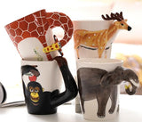 New design Creative Ceramic 3D Mug,coffee milk  tea mugs 3D animal shape Hand painted animals Giraffe Elephant Monkey Deer