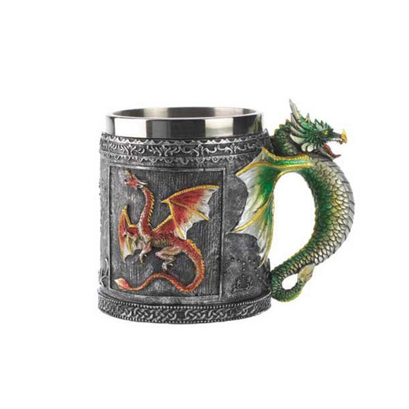 3d Dragon Coffee Mug Milk Beer Water Work Mugs Double Wall Stainless Steel Resin Drinking Gift Skull Glass Cup