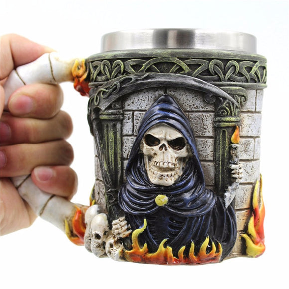 Unique Skull Shape Stainless Steel Mug Coffee Tea Cup Bottle Resin Beer Water Drinking Cup Double Layer Decorative Cup