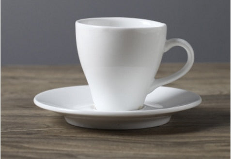European coffee cup white saucer set home kitchen cup ceramic creative European white simple coffee cup Customizable cup new