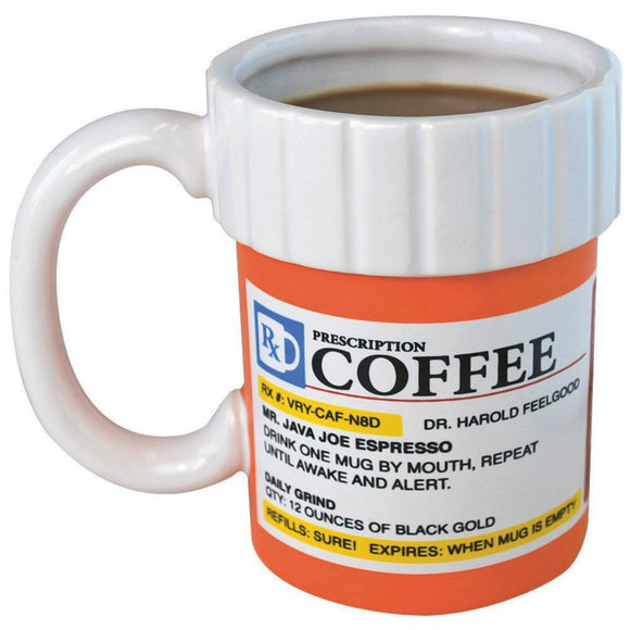 Prescription Mug Pill Bottle Coffee Cup Pharmacy 12 oz. Rx - Big Mouth Toys NEW