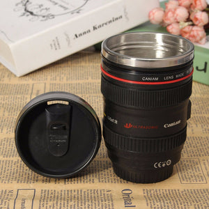 Camera Lens Cup 24-105 Coffee Tea Travel Mug Stainless Steel Thermos New