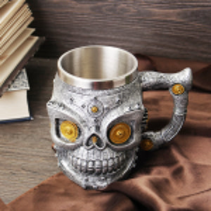 3D Retro Gear Skull Mug Water Coffee Beer Drinking Cup Stainless Steel Resin