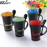 1pcs Creative Ceramic Cup Simple Cup Coffee Mug Large Capacity Water Milk Cup With Spoon Cute Mug Kitchen Drinkware Tool CRM8197