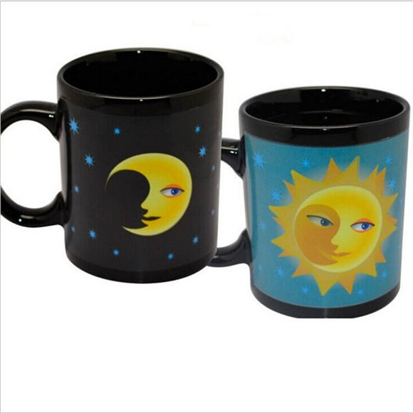 Magic Mug Coffee Tea Milk Hot Cold Heat Sensitive Color-changing Mug Cup (Sun and Moon)