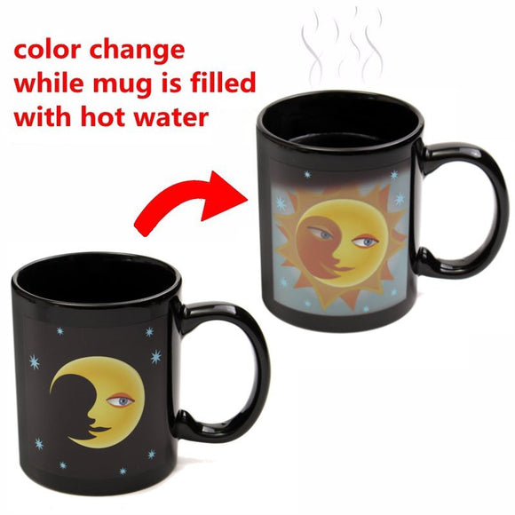 Vintage Moon Sun Color Change Coffee Mug Mischief Managed Magic Ceramic Cup