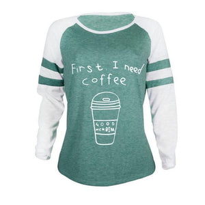 striped patchwork coffee cup printing letter t shirt casual cotton o neck long sleeve t shirt women new thin female tee spring