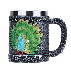 1Pcs Stainless Steel Beer Cup Anchor Peacock Resin Tea Coffee Cup For Milk Wine Whiskey Drinking Cups Party Decoration