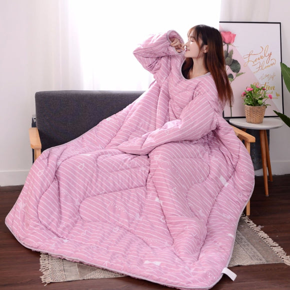 Lazy Winter Quilt With Sleeves for lounging at home, dorm or day trip. Buy Now! Makes a great gift.