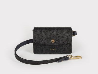 Ines  Coinpurse from Verlein, with Strap, in Jet Black.  Front view.