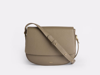 Ana  Crossbody by Verlein, in Taupe.  Front view.