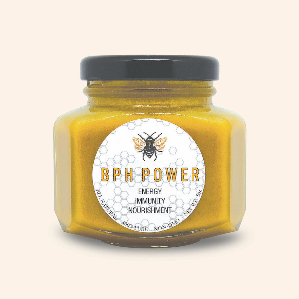 BPH is an essential daily maximum nutrition supplement straight from the worker bees in Florida.  Used for centuries, bee pollen, royal jelly, propolis and raw honey blend in BPH Power have helped fight against diseases, allergies, asthma, common cold, skin problems, digestive issues, etc.  BPH supplement helps support a healthy immune system with echo-rich vitamins (complex B, A, C, D  & E), minerals, amino acids and live enzymes.  Help your body and mind stay strong, energized and healthy.