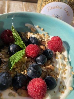 Breakfast with a punch of pollen power!  Best breakfast with bee pollen berries recipe cook bake health protein loaded with vitamins complex B5, a, c, d, e, k, selenium, lecithin, antibiotic powerful plant based. Asthma, arthritis, inflammation, urinary frequency.