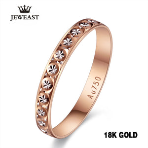 18k Pure Gold Ring Women Rose Engagement Wedding Bands Jewelry Carved Design Real Solid 750 - Jewelrygem