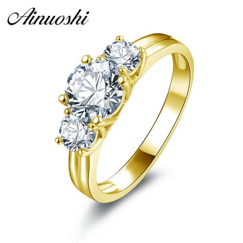 10k Solid Yellow Gold Ring Luxury Design Bague 3 Stones 1ct Round Cut Simulated Diamond Rings Real Gold Wedding Jewelry - Jewelrygem