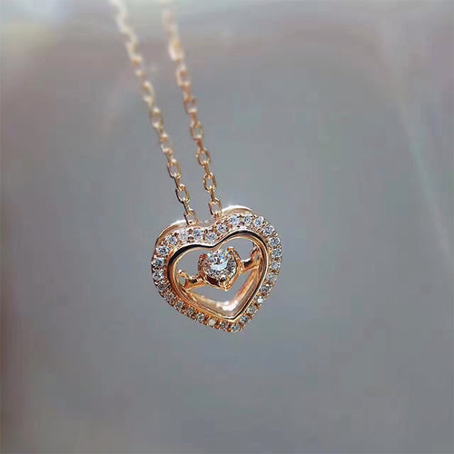 18K Rose Gold Pendant Necklace 0.118ct Real Diamond Jewelry Custom Heart Shape Pendant Necklace for Women Engagement - Jewelrygem