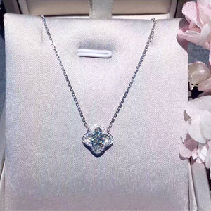 ANI 18K White Gold (AU750) Pendant Necklace Certified 0.486 Carat I/VS Natural Diamond Clover Women Engagement Chain Necklace - Jewelrygem